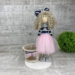 Интерьерная кукла в платье фатин и бантиком *рандомный выбор цвета