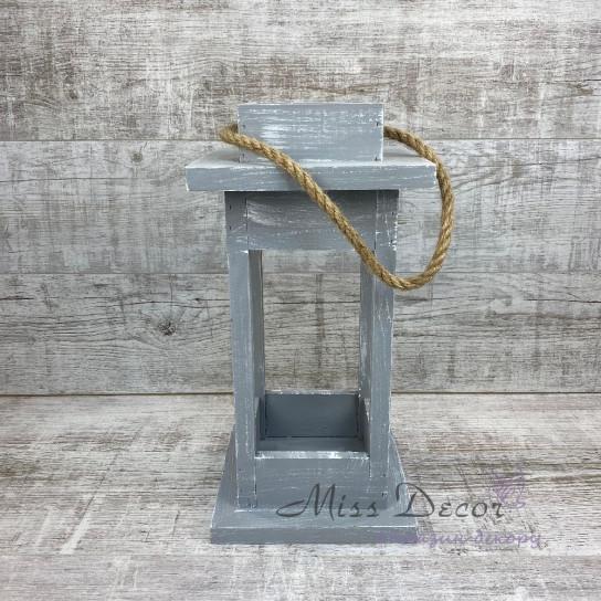 Деревянный фонарь - подсвечник малый серый