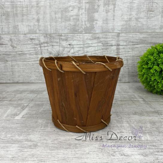 Кашпо круглое кора коричневое