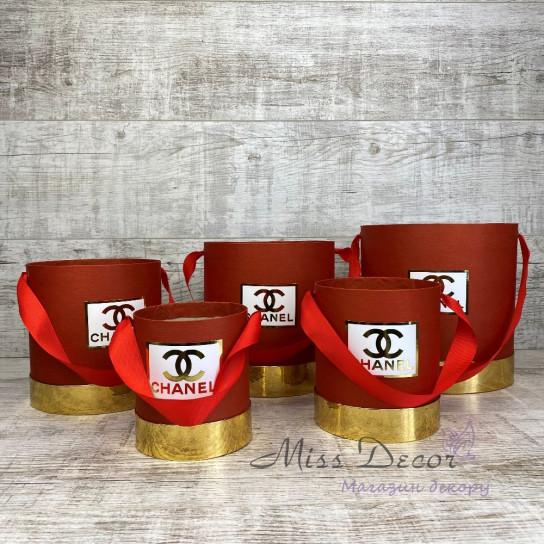 Набор шляпных коробок 5 штук красные с золотом