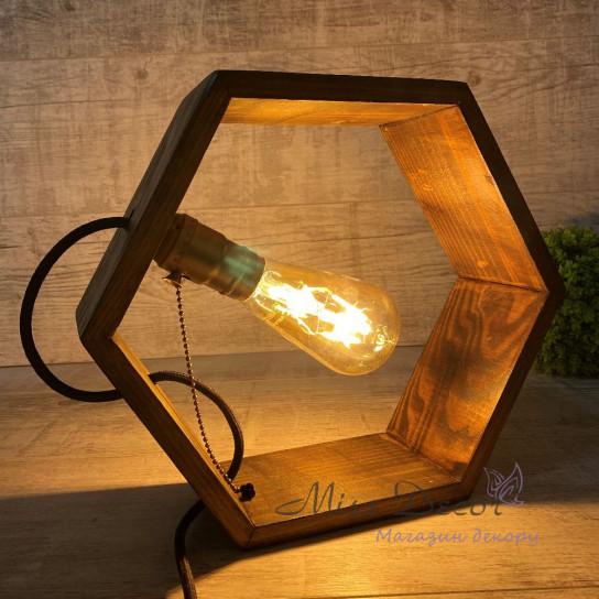 Светильник сота  с ретро лампой