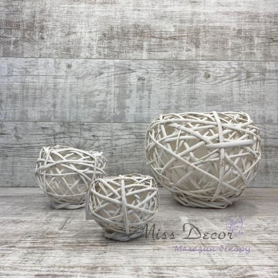 Кашпо плетенное круглое мини
