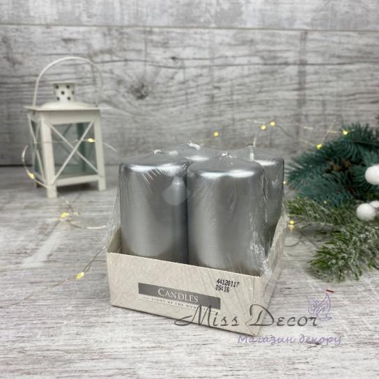 Набор из 4-х свечей (средние -7,5см ) серебро