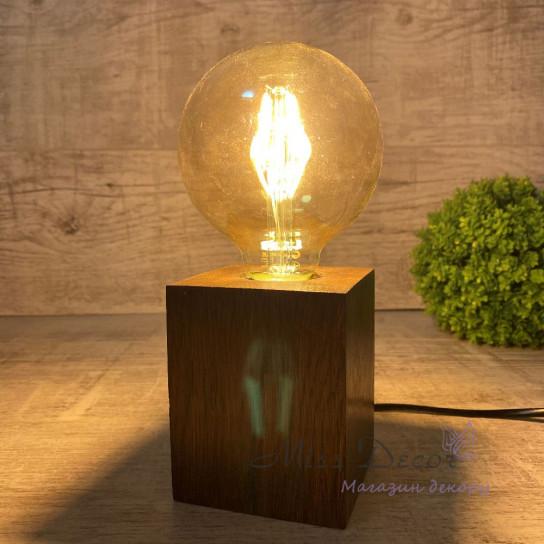 Светильник с ретро лампой куб