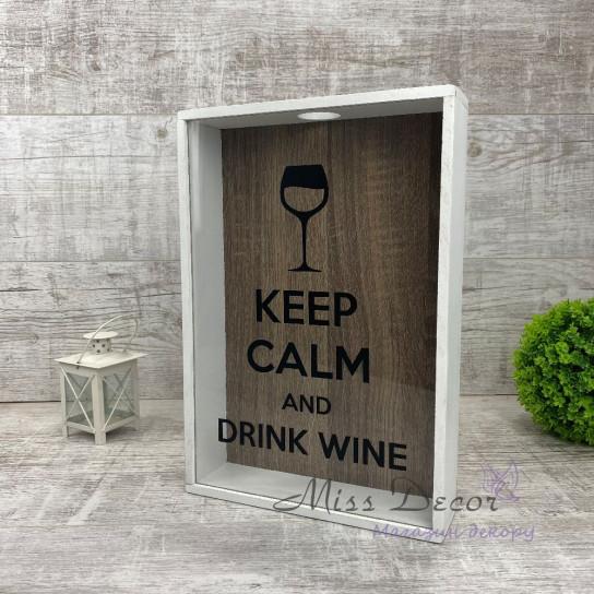 Копилка для винных пробок keep calm & drink wine