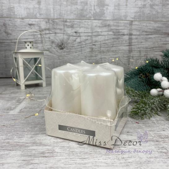 Набор из 4-х свечей (средние -7,5см ) белый перламутр