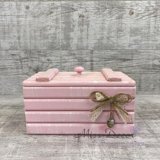 Шкатулка деревянная большая розовая