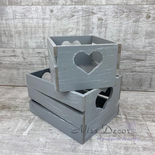 Ящик сердце большой серый