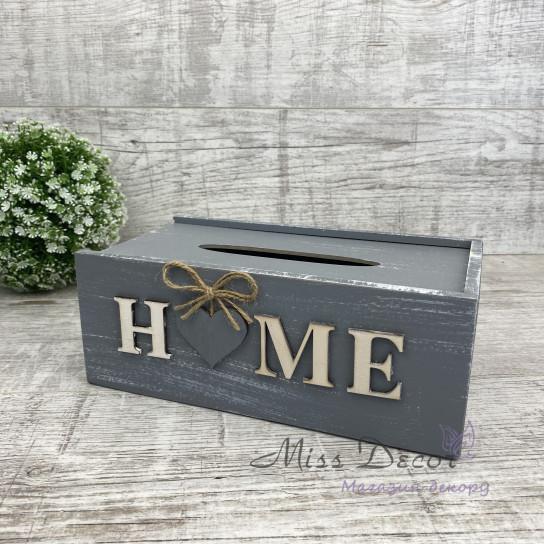 Салфетница деревянная Home серая