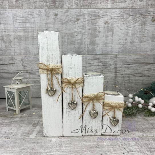 Набор деревянных подсвечников * 4 шт белые
