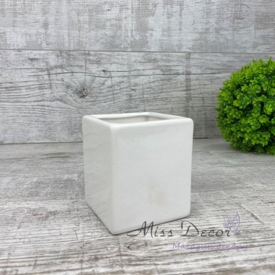 Кашпо керамическое мини куб