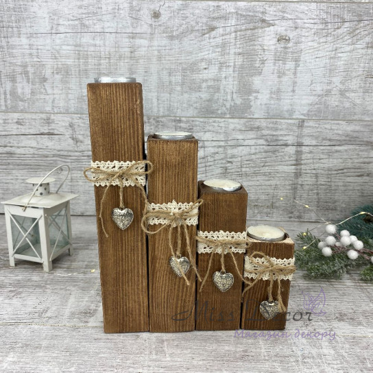Набор деревянных подсвечников * 4 шт коричневые