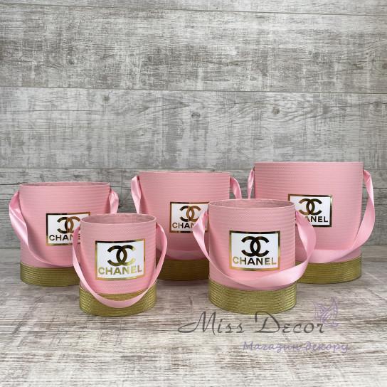 Набор шляпных коробок 5 штук розовые с золотом