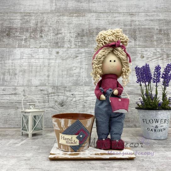 Интерьерная кукла Стильняшка + кашпо