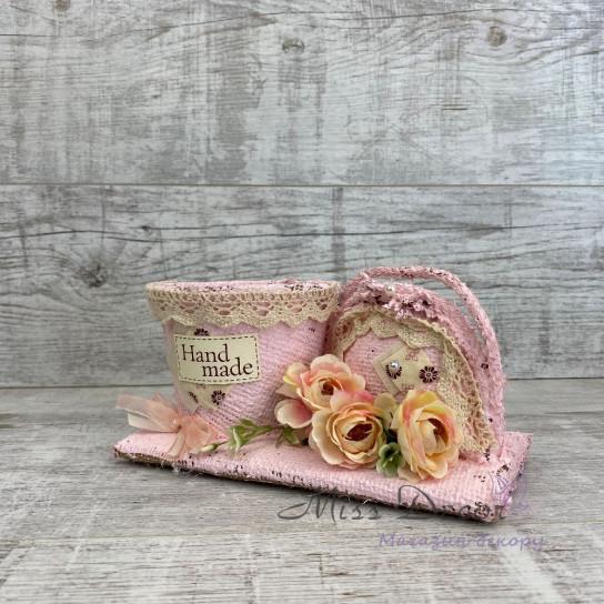 Кашпо + сумочка розовая