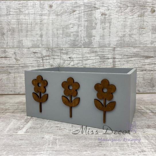 Ящик деревянный flowers серый
