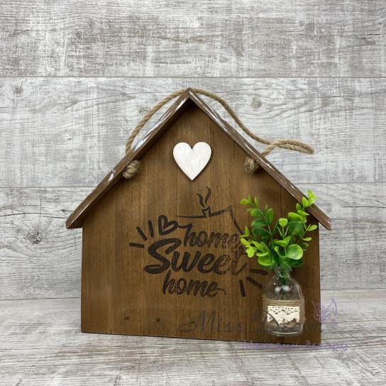 Декоративная доска домик коричневый