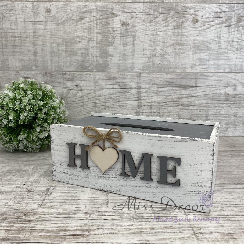 Салфетница деревянная Home бело серая