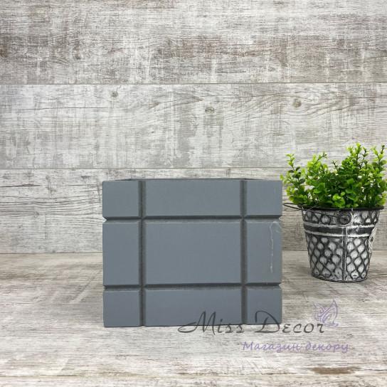 Деревянное кашпо кубики малое серое