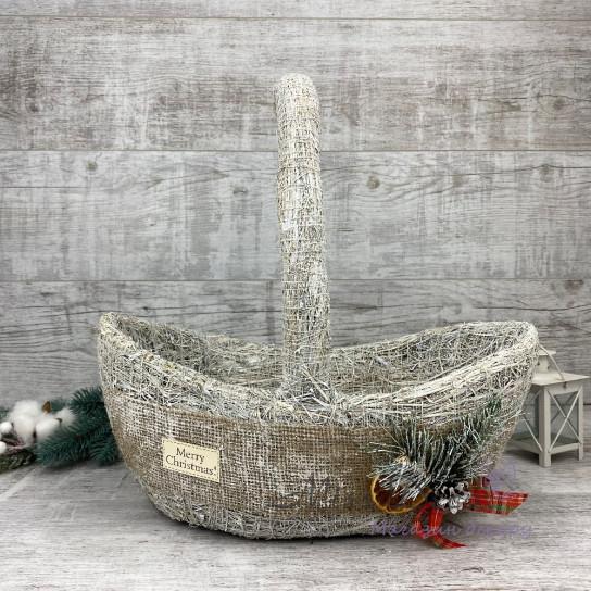 Корзина волна хл + новогодний декор белая