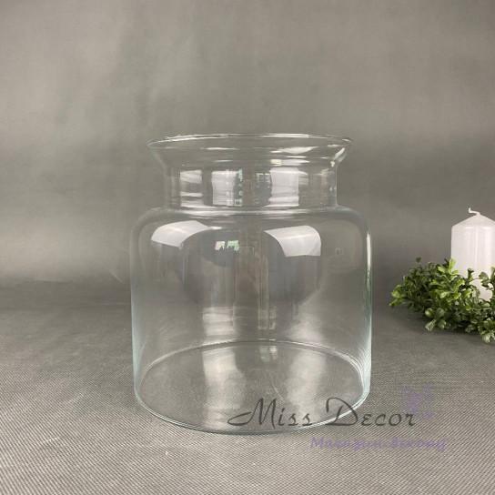 Стеклянная ваза банка 20 см
