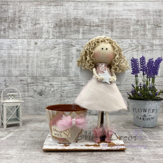 Интерьерная кукла ангел + кашпо
