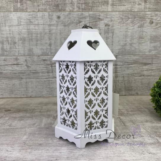 Деревянный фонарь домик LED 1707020