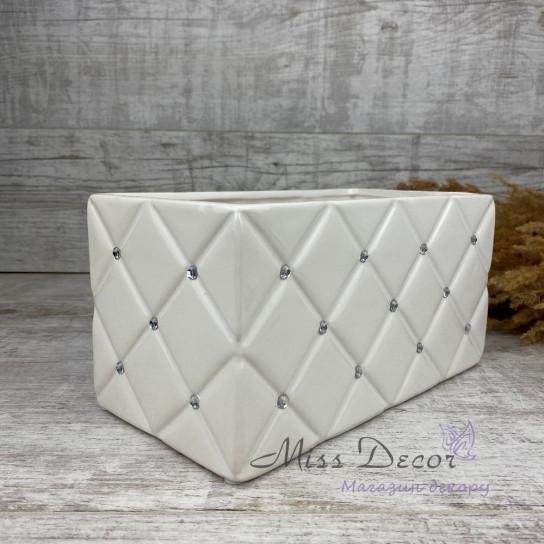 Кашпо керамика гламур белое 02.674.26