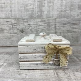 Шкатулка деревянная малая белая