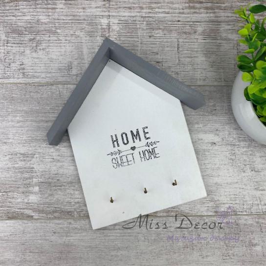 Ключница домик бело серая home sweet home
