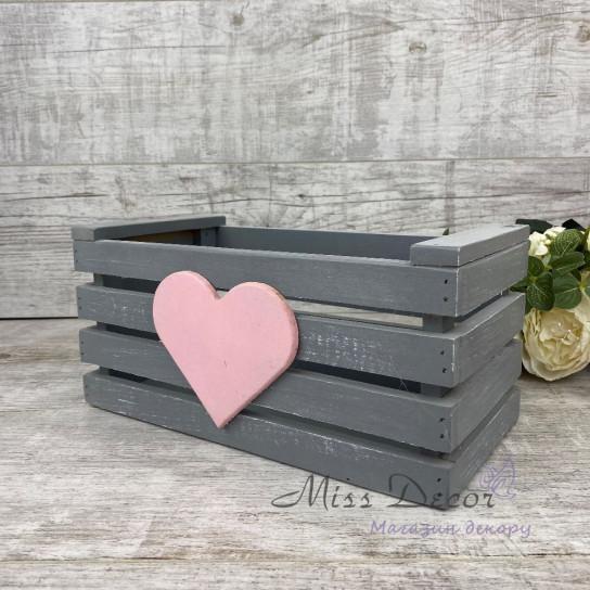 Деревянный ящик сердце серый + розовый