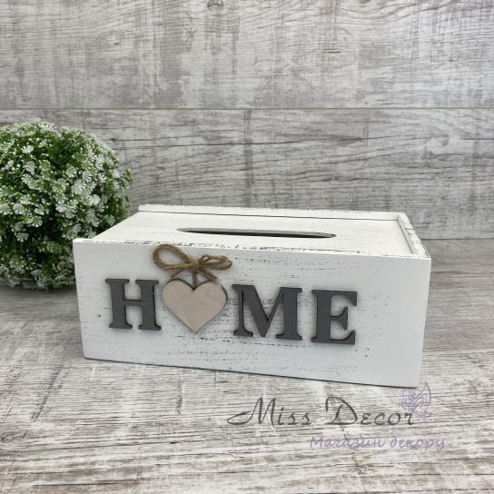 Салфетница деревянная Home белая