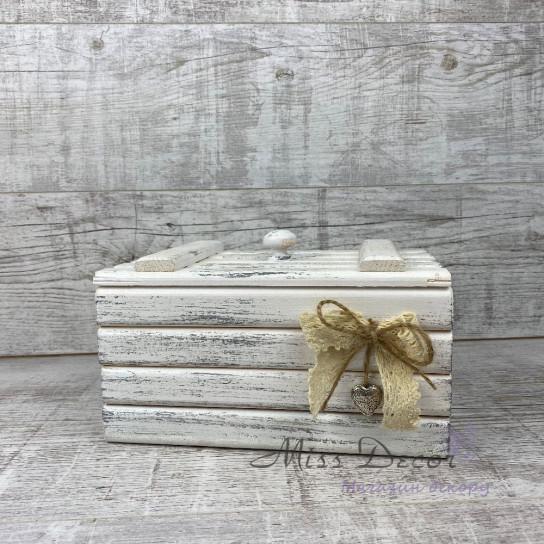 Шкатулка деревянная большая белая