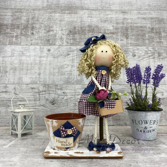 Интерьерная кукла с сумочкой и в шляпе+ кашпо