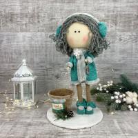 Новогодняя куколка в наушниках + кашпо ХЛ