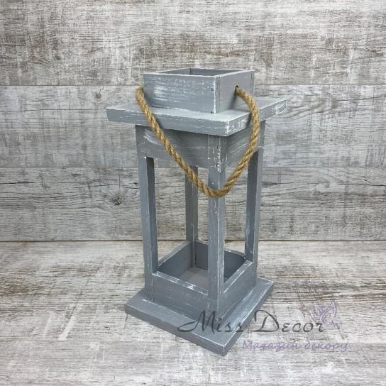 Деревянный фонарь - подсвечник средний
