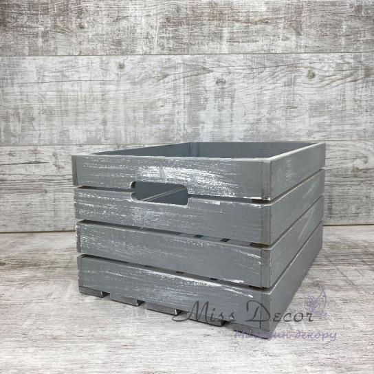 Набор деревянных ящиков 3 шт серые