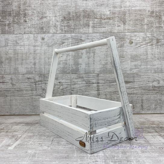 Деревянная корзина большая 107 (белая)
