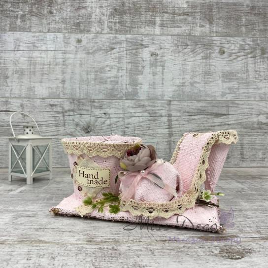 Кашпо туфелька розовая