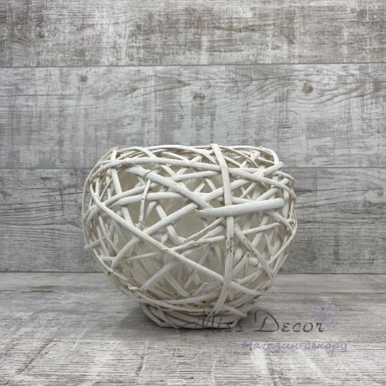 Кашпо плетенное круглое большое