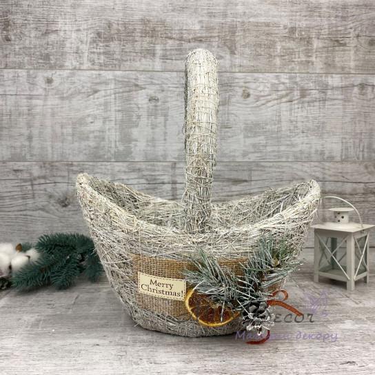 Корзина кораблик большой + Новогодний Декор белый