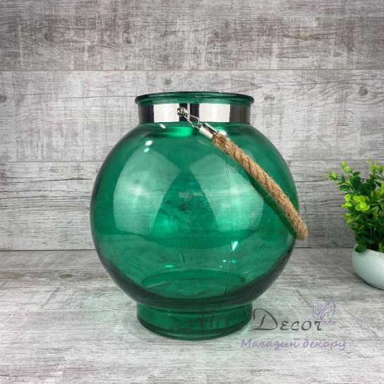 Стеклянная ваза подсвечник большой зеленый OKB2285-2L