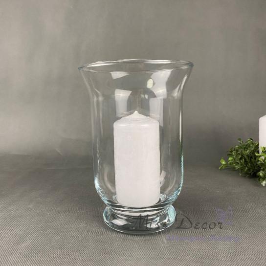 Стеклянная ваза подсвечник средний 20 см