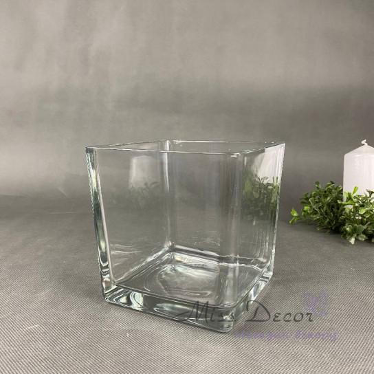 Стеклянная ваза куб 14 см