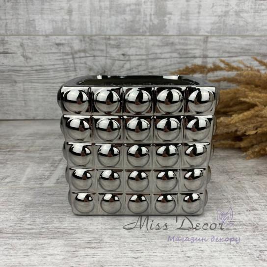 Кашпо керамика куб малый silver 02.561.14