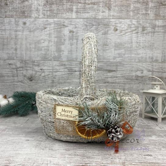 Корзина малая + новогодний декор белая