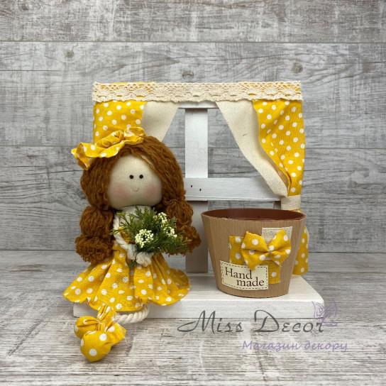 Кукла окошко с кашпо *рандомный выбор цвета