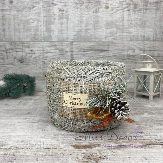 Бочка малая + новогодний декор белая